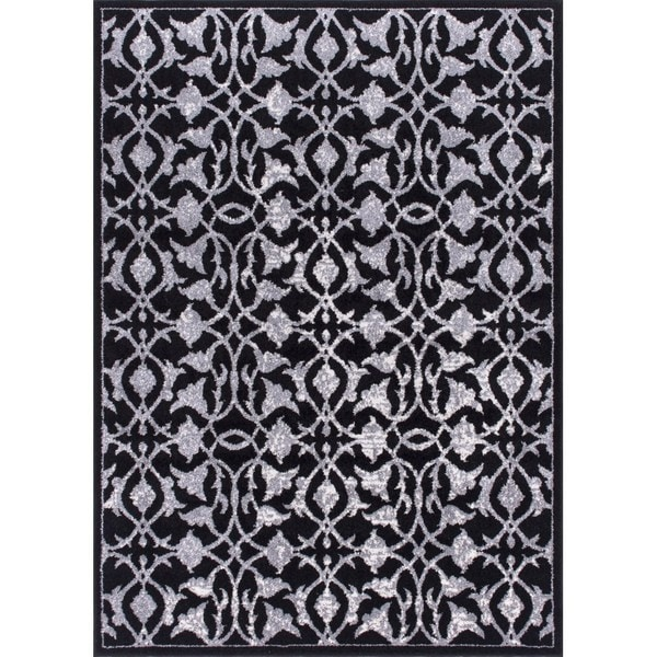"""Rug Squared Riverside Black Abstract Area Rug (7'10 x 10'6) - 7'10"""" x 10'6"""""""