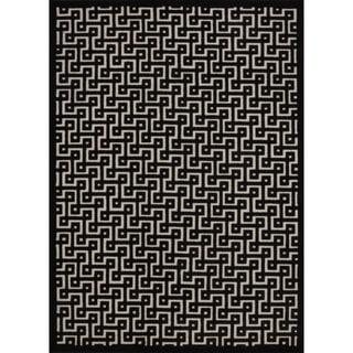 Rug Squared Montrose Ivory/ Black Geometric Area Rug (7'9 x 10'10)