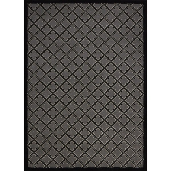 Rug Squared Montrose Silver/ Black Geometric Area Rug - 7'9 x 10'10