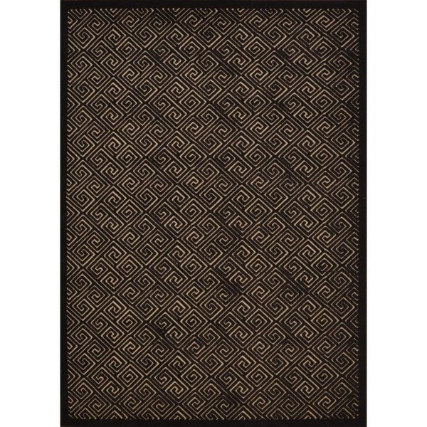 "Rug Squared Montrose Beige/ Espresso Abstract Area Rug - 5'3"" x 7'3"""