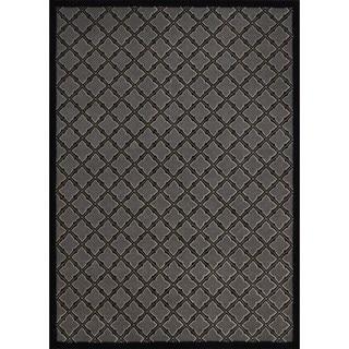 Rug Squared Montrose Silver/ Black Geometric Area Rug (5'3 x 7'3)