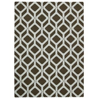 Rug Squared Milford Chocolate/ Blue Graphic Area Rug (2'6 x 4')