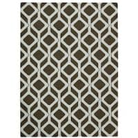Rug Squared Milford Chocolate/ Blue Graphic Area Rug (2'6 x 4') - 2'6 x 4'
