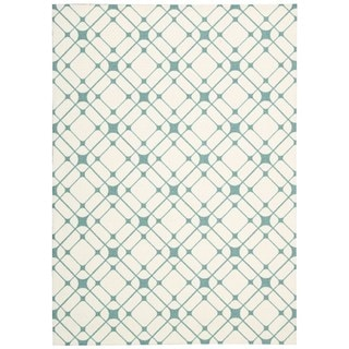 Rug Squared Milford Ivory/ Turquoise Graphic Area Rug (8' x 10')