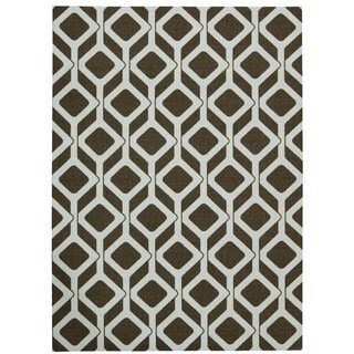 Rug Squared Milford Chocolate/ Blue Graphic Area Rug (8' x 10')