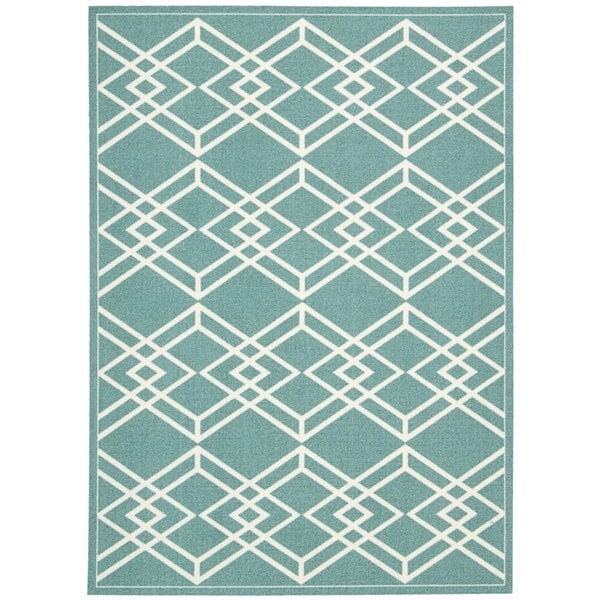 Rug Squared Milford Turquoise Graphic Area Rug (8' x 10')