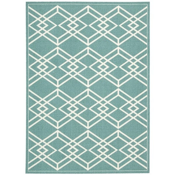 Rug Squared Milford Turquoise Graphic Area Rug - 8' x 10'