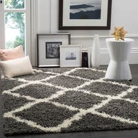 Safavieh Dallas Shag Dark Grey/ Ivory Trellis Rug - 6' Square
