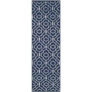 Safavieh Handmade Flatweave Dhurries Navy/ Ivory Wool Rug (2'6 x 4')
