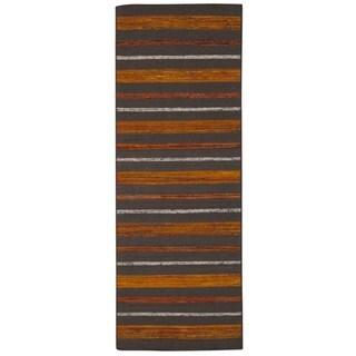 Rug Squared Olympia Grey/ Flame Stripe Area Rug (2'6 x 7'6)