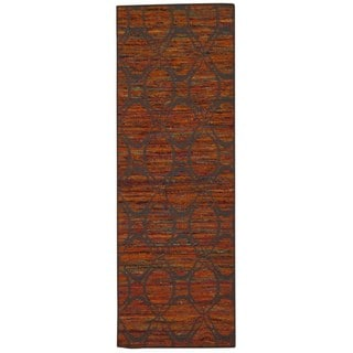 Rug Squared Olympia Flame/ Grey Graphic Area Rug (2'6 x 7'6)