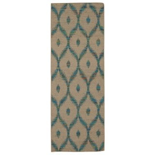 Rug Squared Olympia Beige/ Turquoise Graphic Area Rug (2'6 x 7'6)