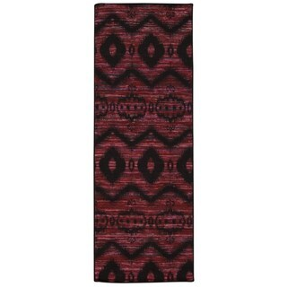 Rug Squared Olympia Burgundy/ Black Graphic Area Rug (2'6 x 7'6)