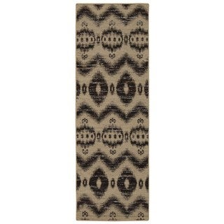 Rug Squared Olympia Beige Black Graphic Area Rug (2'6 x 7'6)
