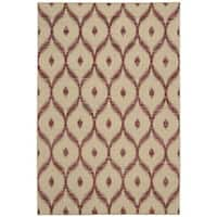 Rug Squared Olympia Beige/ Burgundy Graphic Area Rug - 2'6 x 4'
