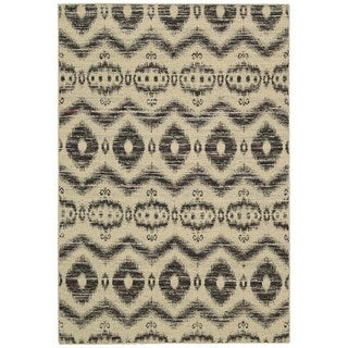 Rug Squared Olympia Beige Black Graphic Area Rug (2'6 x 4')