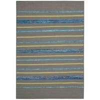 Rug Squared Olympia Grey/ Turquoise Stripe Area Rug (8' x 10'6) - 8' x 10'6