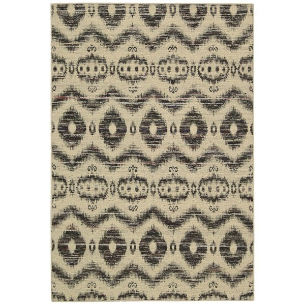 """Rug Squared Olympia Beige Black Graphic Area Rug - 8' x 10'6"""""""