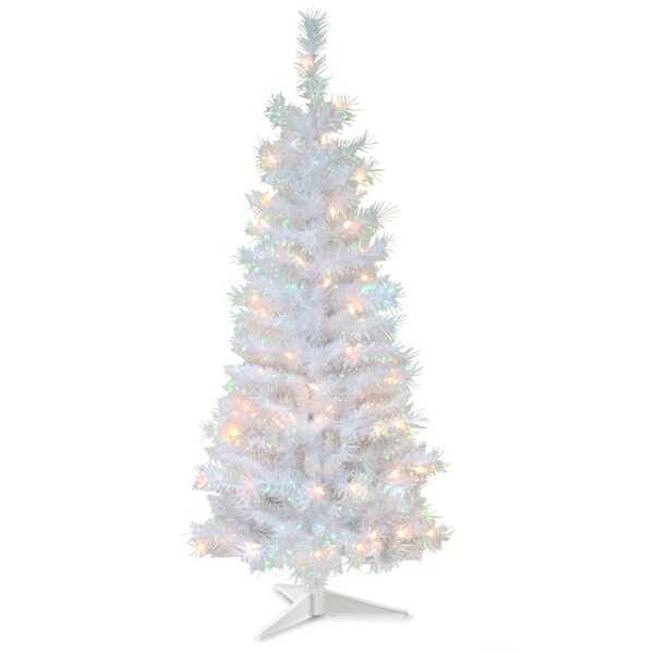White Christmas Tre: 4-foot Tinsel-wrapped Tree With Plastic Stand And 70 Clear