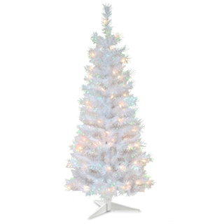 4-foot Tinsel-wrapped Tree with Plastic Stand and 70 Clear Lights in White