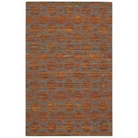 Rug Squared Olympia Flame/ Grey Graphic Area Rug (5'3 x 7'5)
