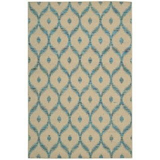 Rug Squared Olympia Beige/ Turquoise Graphic Area Rug (5'3 x 7'5)