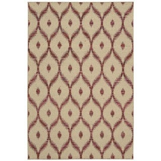 Rug Squared Olympia Beige/ Burgundy Graphic Area Rug (5'3 x 7'5)