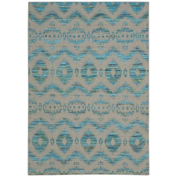 Rug Squared Olympia Turquoise Grey Graphic Area Rug 5 3