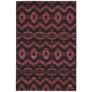 Rug Squared Olympia Burgundy/ Black Graphic Area Rug (5'3 x 7'5)