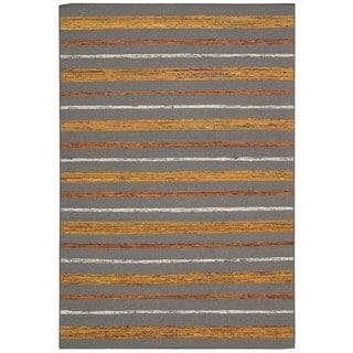 Rug Squared Olympia Grey/ Flame Stripe Area Rug (3'9 x 5'9)