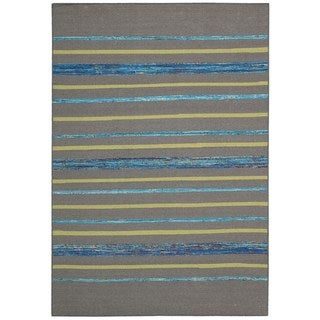 Rug Squared Olympia Grey/ Turquoise Stripe Area Rug (3'9 x 5'9)