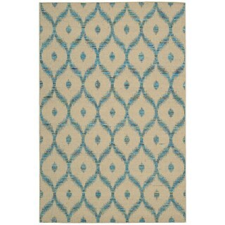 Rug Squared Olympia Beige/ Turquoise Graphic Area Rug (3'9 x 5'9)
