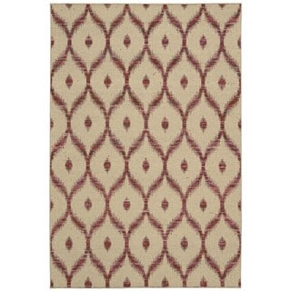 Rug Squared Olympia Beige/ Burgundy Graphic Area Rug (3'9 x 5'9)