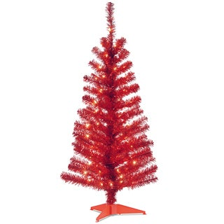 4-foot Tinsel-wrapped Tree with Plastic Stand and 70 Clear Lights in Red
