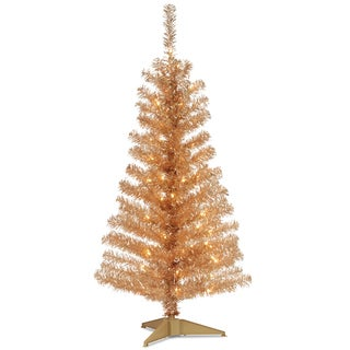 4-foot Tinsel-wrapped Tree with Plastic Stand and 70 Clear Lights in Champagne