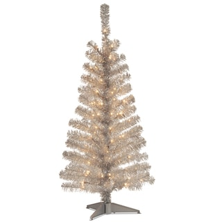 4-foot Tinsel-wrapped Tree with Plastic Stand and 70 Clear Lights in Silver