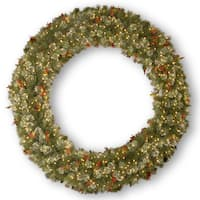 72-inch Wintery Pine Wreath with Clear Lights