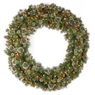 72-inch Wintry Pine Wreath with Clear Lights