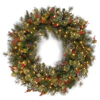 30-inch Wintry Pine Wreath with Clear Lights