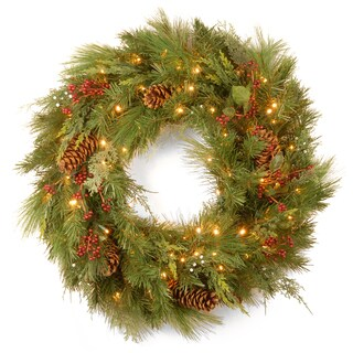 National Tree 30-inch White Pine Wreath with White LED Lights