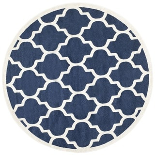 Safavieh Indoor/ Outdoor Amherst Navy/ Beige Rug (7' Round)