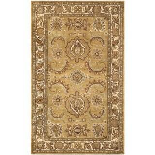 Safavieh Handmade Classic Gold/ Ivory Wool Rug (2' x 3')
