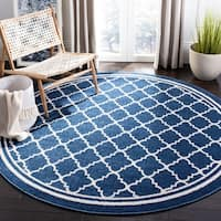 Safavieh Indoor/ Outdoor Amherst Navy/ Beige Rug - 7' Round