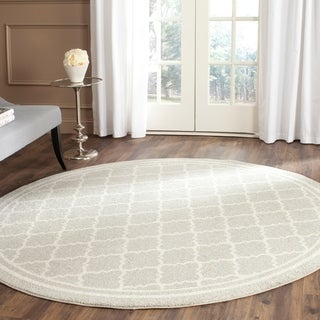 Safavieh Indoor/ Outdoor Amherst Light Grey/ Beige Rug (7' Round)