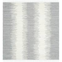 Safavieh Hand-woven Montauk Grey Cotton Rug - 6' Square
