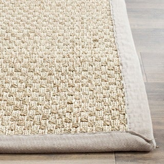 Safavieh Casual Natural Fiber Natural and Grey Border Seagrass Rug (2' x 3')