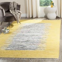 Safavieh Hand-woven Montauk Ivory/ Yellow Cotton Rug - 6' Square