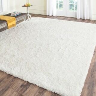 Safavieh Handmade Malibu Shag White Polyester Rug (10' x 14')