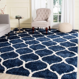 Safavieh Hudson Ogee Shag Navy Background and Ivory Rug (9' x 12')