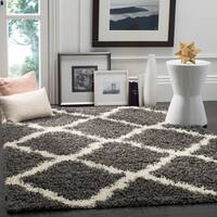 Safavieh Dallas Shag Dark Grey/ Ivory Trellis Rug (8'6 x 12')